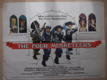 Four Musketeers, Original UK Quad, Michael York, Oliver Reed, Raquel Welch, '74